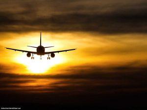 Plane Sunset Background
