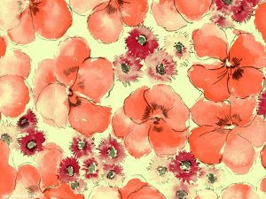 Batik Red Flower Texture Painting Powerpoint Background